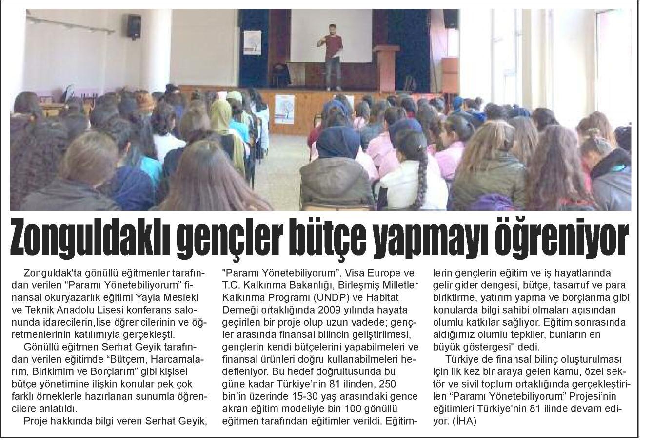 'Paramı Yönetebiliyorum' Projesi kapsamında Zonguldaklı gençler bütçe yapmayı öğreniyor